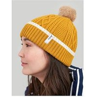 Joules Gold Faux Fur Pom Bobble Hat, Gold, Women