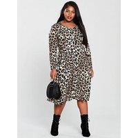 V By Very Curve Animal Button Through Midi Dress - Leopard Print