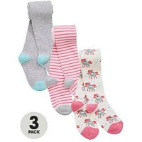 Mini V by Very Girls 3 Pack Unicorn Cotton Rich Tights, Multi, Size 3-4 Years, Women