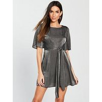 V by Very Hammered Satin Tie Front Dress - Grey , Grey, Size 16, Women