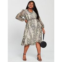 V by Very Curve Midi Dress - Snake Print, Print, Size 22, Women