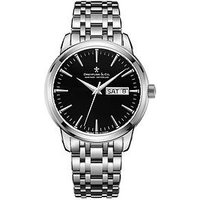 Dreyfuss & Co 1890 Black Day Date Dial Stainless Steel Bracelet Mens Watch, One Colour, Men