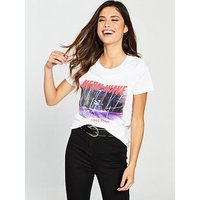 V by Very Neon Wave T-Shirt - White, White, Size 18, Women
