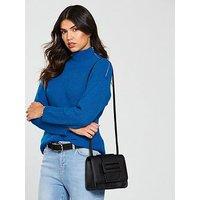 V by Very Roll Neck Zipper Detail Jumper - Blue, Blue, Size 12, Women