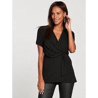 V by Very Wrap Longline Tunic Top - Black , Black, Size 18, Women