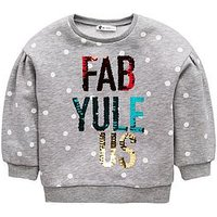Mini V by Very Girls Fab-Yule-Us Sequin Christmas Jumper - Multi, Multi, Size Age: 6-9 Months, Women