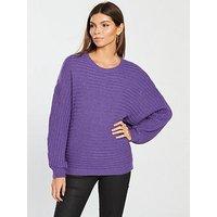 V by Very Rib Detail Batwing Jumper - Vibrant Purple, Vibrant Purple, Size 12, Women