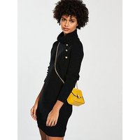 V by Very Button Detail Roll Neck Mini Knitted Dress - Black , Black, Size 8, Women