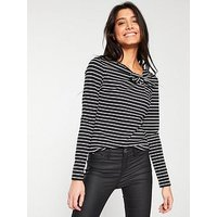 V by Very Bow Neck Top - Navy Stripe, Black Stripe, Size 18, Women