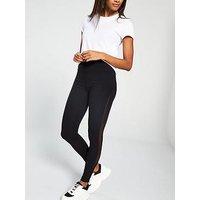 V by Very Side Mesh Panel Legging, Black, Size 24, Women