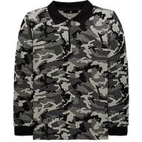 Boys, V by Very Camo Knitted Zip Fastening Polo Shirt, Black, Size 12 Years
