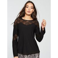 V by Very Lace Insert Top, Black, Size 16, Women