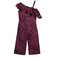 V by Very Girls Animal Printed Frill Party Jumpsuit, Multi, Size 16 Years, Women