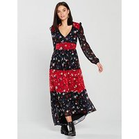 V by Very Unique Dipped Back Hem Midaxi Dress - Print, Print, Size 18, Women