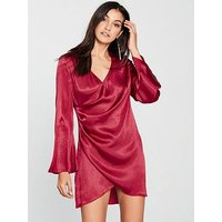 The Girl Code Crinkle Satin Wrap Kimono Dress - Deep Berry, Deep Berry, Size 10, Women