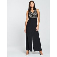 The Girl Code Satin And Lace Wide Leg Jumpsuit - Black/Nude , Black/Nude, Size 8, Women