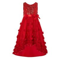 Monsoon Ianthe Sparkle Dress, Red, Size 6 Years, Women