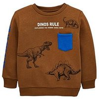 Mini V by Very Toddler Boys Dinos Rule Sweatshirt  - Tan, Tan, Size Age: 3-6 Months