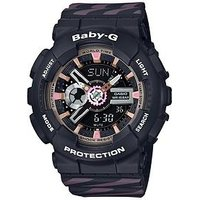 Casio Casio Baby-G Black and Neobrite Pink Functionality Dial Black and Pink Detail Silicone Strap Ladies Watch, One Colour, Wom