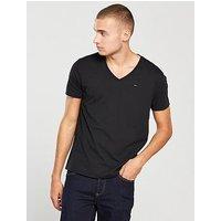 Tommy Jeans Tommy Jeans Original Jersey V Neck T Shirt, Black, Size 2Xl, Men