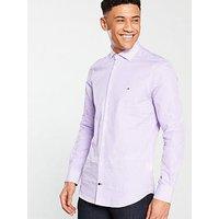 Tommy Hilfiger Tommy Hilfiger Classic Stripe Slim Fit Shirt, Purple, Size 17, Men