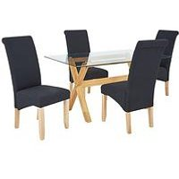 Venla 150 Cm Solid Wood And Glass Dining Table + 4 Chatham Chairs