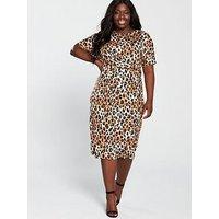 V by Very Curve Twist Front Midi Dress - Animal Print, Animal, Size 22, Women