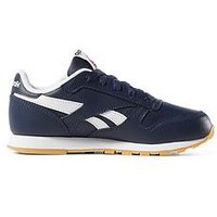 Reebok Classic Leather Childrens Trainer, Navy/White, Size 12