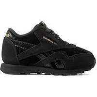 Reebok Classic Nylon Infant Trainer, Black/Gold, Size 8