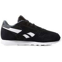 Reebok Classic Leather Childrens Trainer, Black/Grey, Size 13