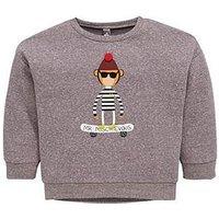 Boys, Mini V by Very Monkey Skateboard Sweatshirt, Grey, Size Age: 2-3 Years