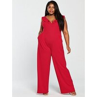 Girls On Film Curve Frill Shoulder Wide Leg Jumpsuit - Red, Red, Size 26, Women