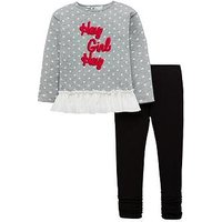 Mini V by Very Toddler Girls 'Hey Girl' Frill Sweat and Legging Set - Grey/Black, Grey/Black, Size Age: 3-6 Months, Women
