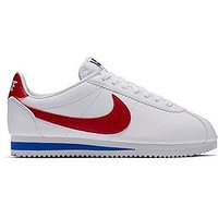 Nike Classic Cortez Leather - White , White/Red, Size 5, Women