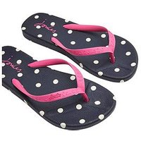 Joules Polka Dot Flip Flop Shoes - Navy/Pink, French Navy Spot, Size 5, Women