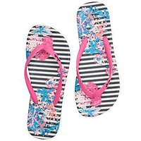 Joules Flip Flops - Navy, Navy Cottage Stripe, Size 3, Women