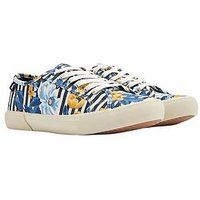 Joules The Coast Plimsoll Navbotan - Print, Navy Botanical, Size 6, Women