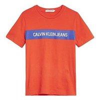 Calvin Klein Jeans Boys Short Sleeve Logo T-Shirt - Orange, Orange, Size 10 Years