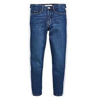 Calvin Klein Jeans Girls Boyfriend Side Stripe Jeans - Mid Blue, Mid Blue, Size Age: 14 Years, Women