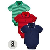 Mini V by Very Baby Boys 3 Pack Stripe Polo Shirt Bodysuits - Multi Coloured, Multi, Size Age(Months): 0-3 Months (14.5Lbs)