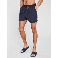 V by Very Basic Tech Swim Short, Navy, Size S, Men
