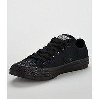Converse Chuck Taylor All Star Glitter Ox - Black , Black/Black, Size 3, Women