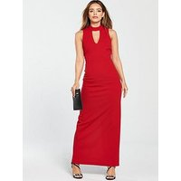V by Very Petite High Neck Maxi Dress - Red , Red, Size 16, Women