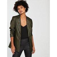 V by Very Metallic Suit Jacket, Metallic, Size 12, Women