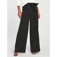 V by Very Polka Dot Tie Side Trouser - Black/White, Print, Size 8, Women