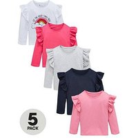 Mini V by Very Girls 5 Pack Long Sleeve Ruffle Shoulder T-Shirts - Multi, Multi, Size Age: 5-6 Years, Women