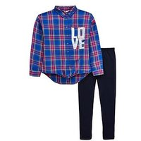 V by Very Girls 2 Piece Tie Knot Check Shirt and Leggings Outfit - Multi, Multi, Size Age: 9 Years, Women