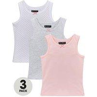 Mini V by Very Girls 3 Pack Plain and Polka Dot Sleeveless Vest Tops - Multi, Multi, Size 12-18 Months, Women