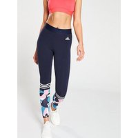 adidas Print Tight - Navy, Navy, Size L, Women