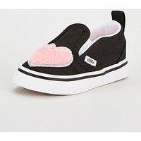 Vans Slip-On Velcro Heart Infant Trainer, Pink/Black, Size 6